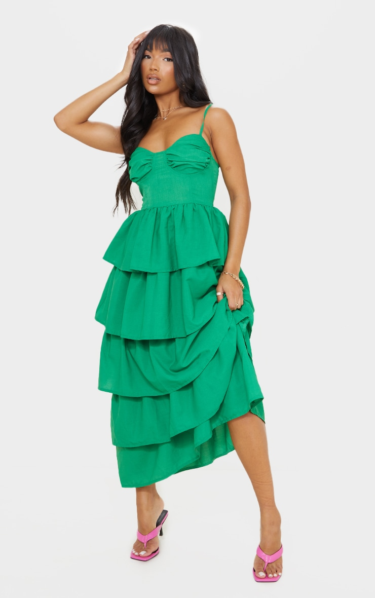 Bright Green Cup Detail Strappy Tiered Maxi Dress 1