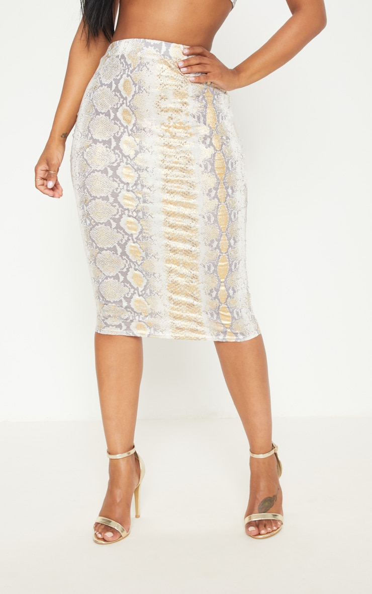 Shape Gold Snake Print Midi Skirt 2