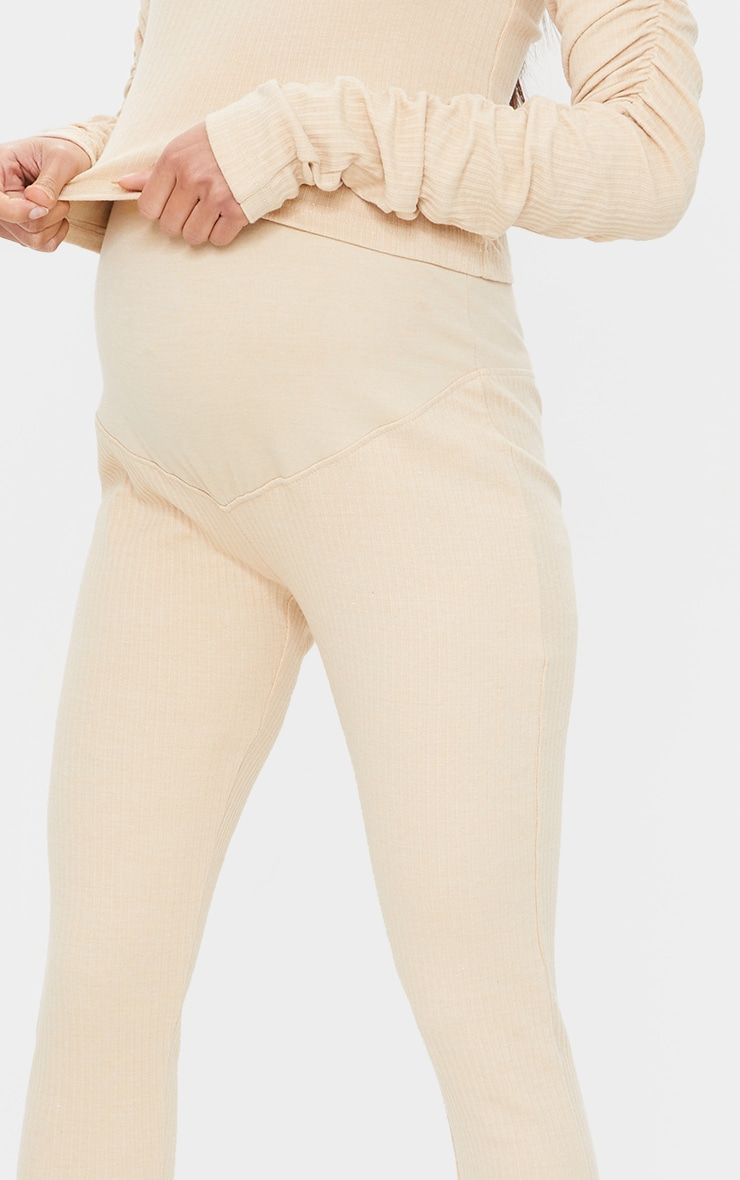 Maternity Camel Bump Support Ribbed Leggings 4