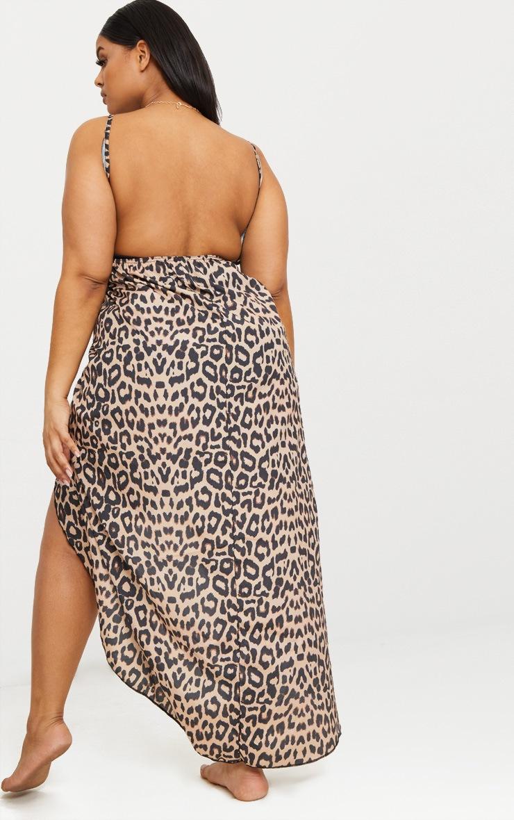Plus Brown Leopard Print Wrap Detail Chiffon Beach Cover Up Dress 2