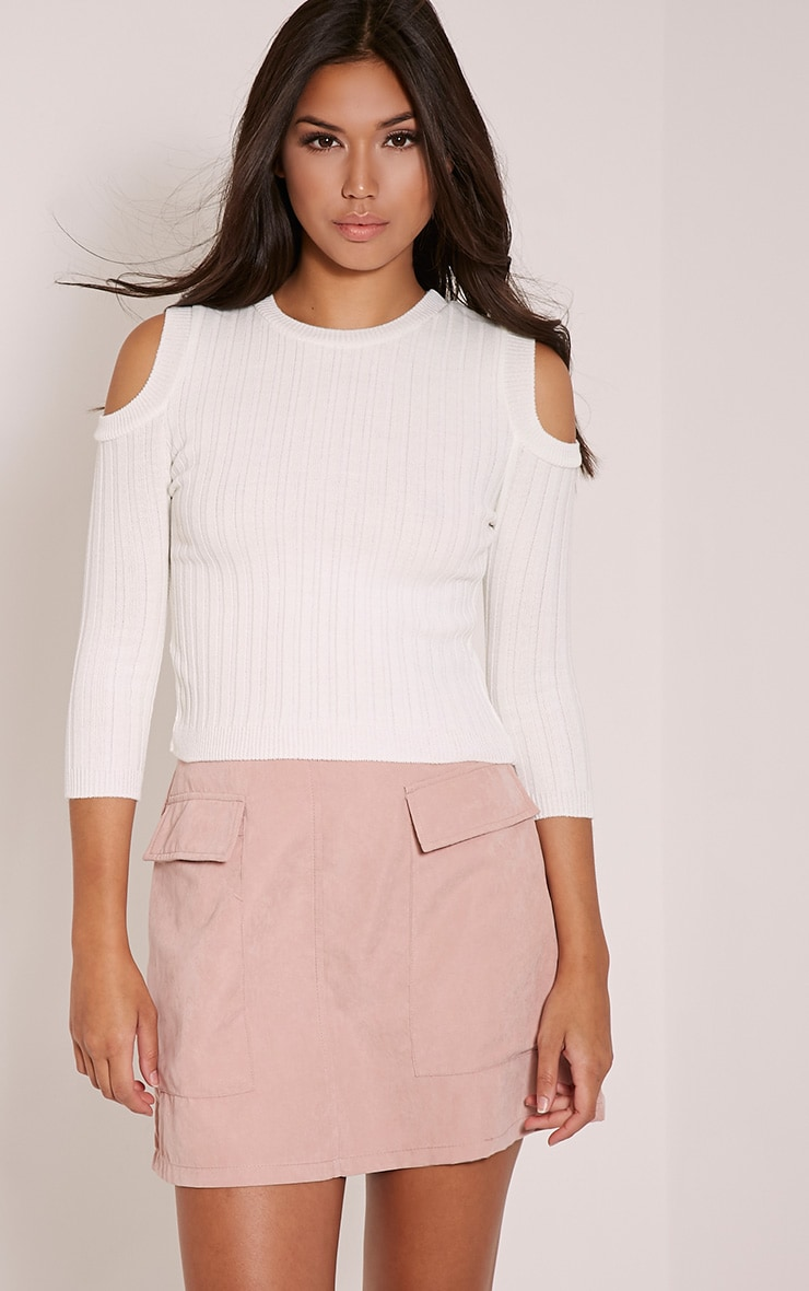 Hella Cream Cold Shoulder Crop Jumper 1