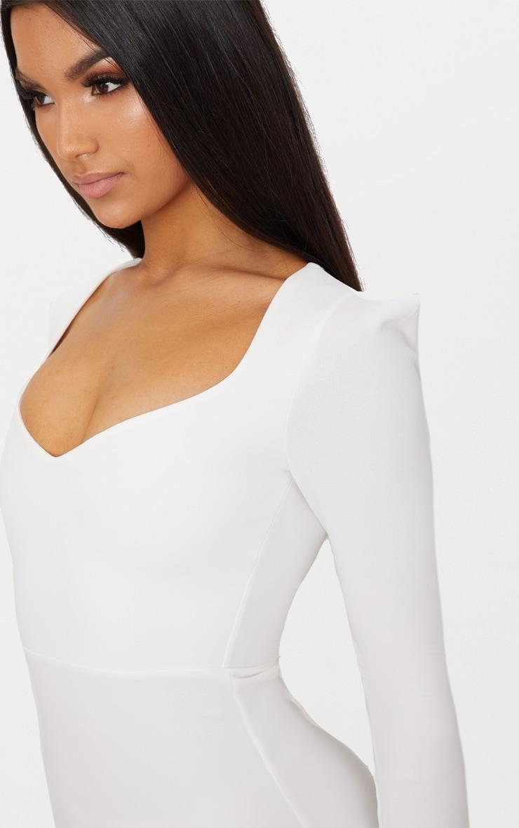 White Pointed Shoulder Extreme Split Maxi Dress 5