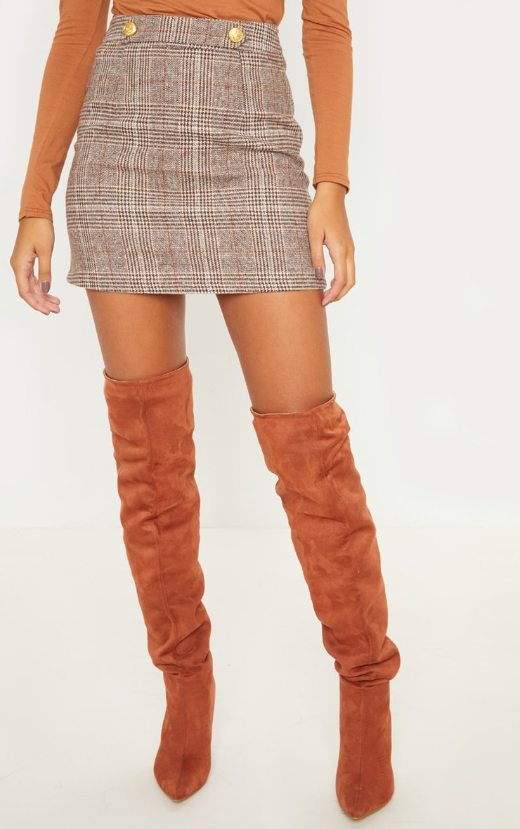 Brown Check Button Detail Mini Skirt 2