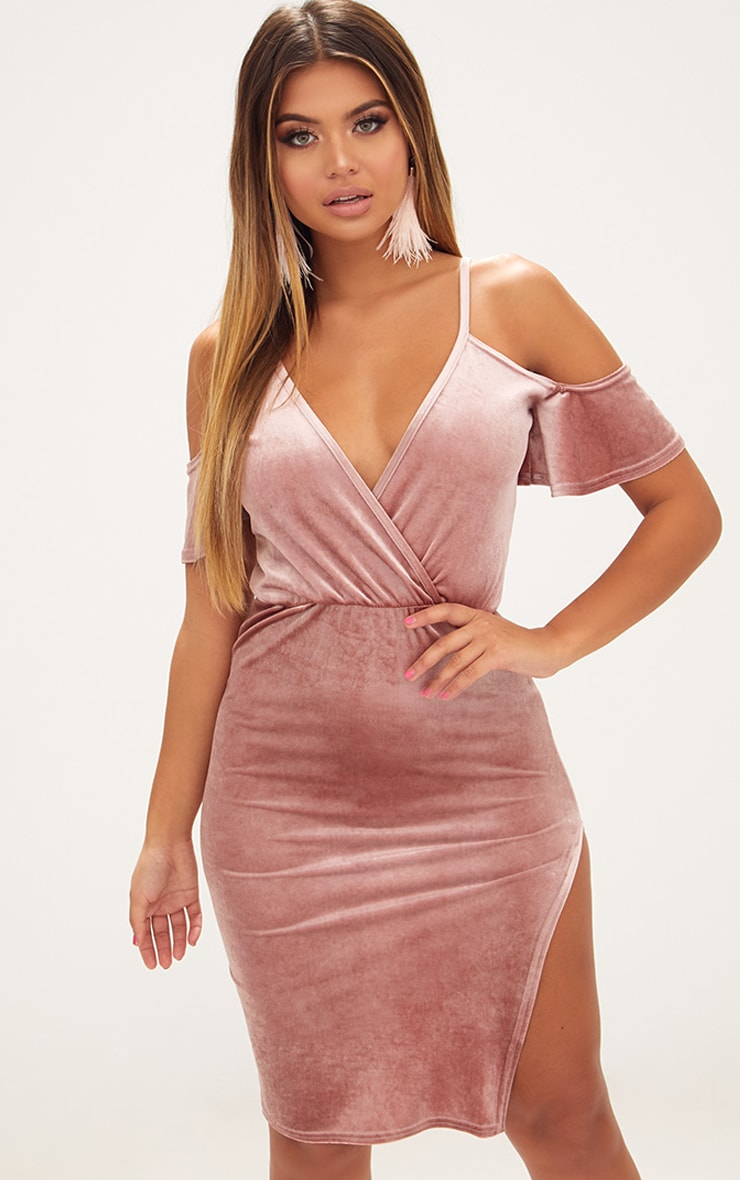 db50b2631892 Dusty Pink Velvet Cold Shoulder Wrap Front Midi Dress image 1