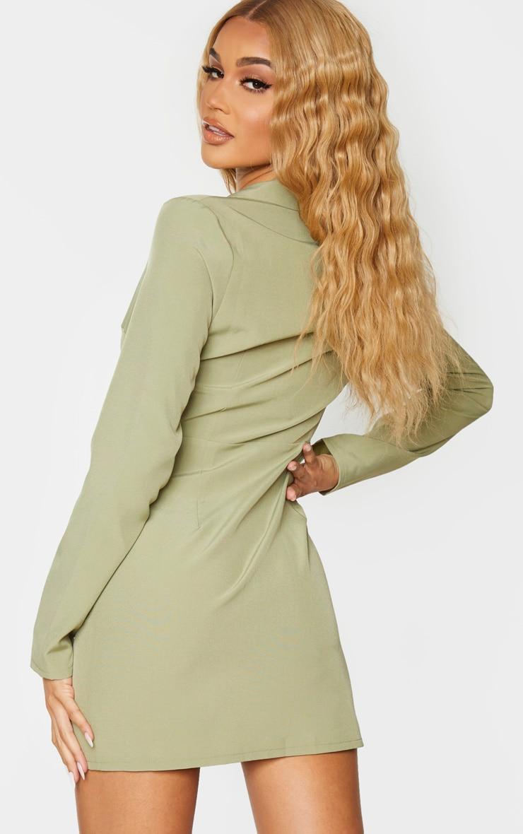 Sage Khaki Button Detail Wrap Blazer Dress 2