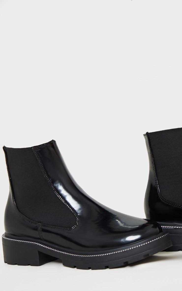 Black Chain Sole Cleated Chunky Chelsea Ankle Boot 4
