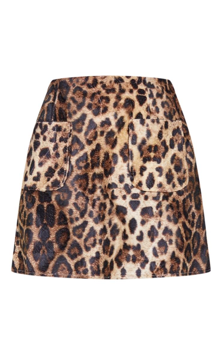 Julissa Camel Leopard Print Textured A-Line Mini Skirt 6