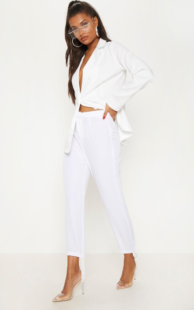 White Woven Stirrup Trouser 1