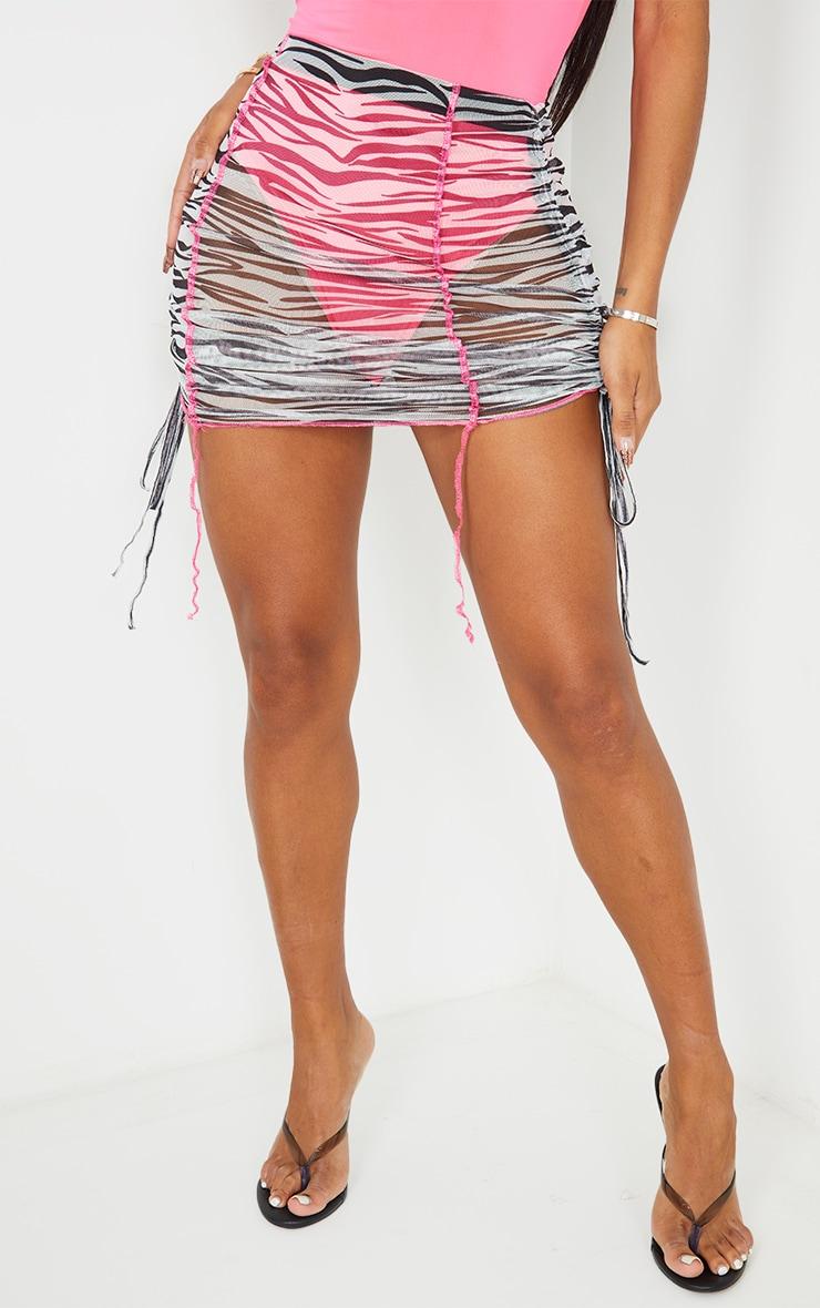 Shape White Zebra Print Sheer Mesh Seam Detail Ruched Side Bodycon Skirt 2