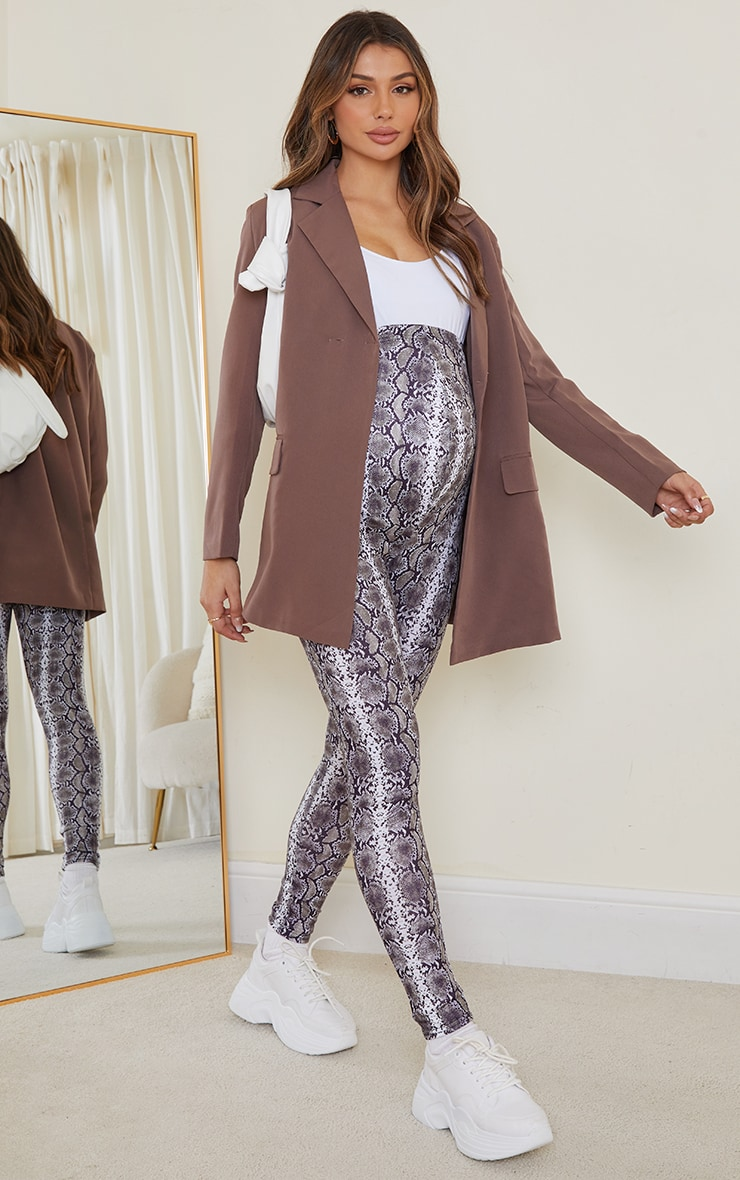 Maternity Grey Snake Print Jersey Leggings 1