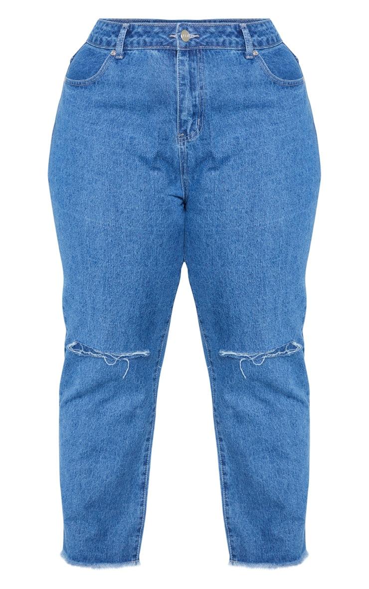 Plus Mid Wash Fray Hem Ripped Jean 3