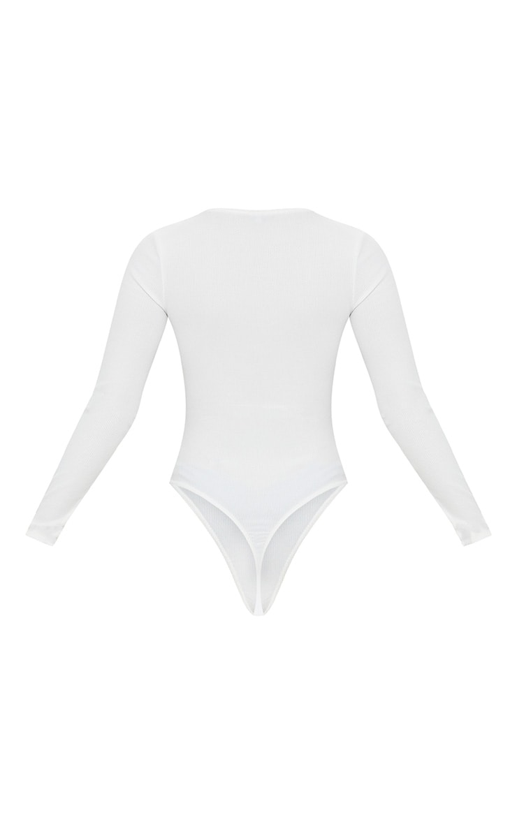 Petite White Popper Front Rib Long Sleeve Thong Bodysuit 4