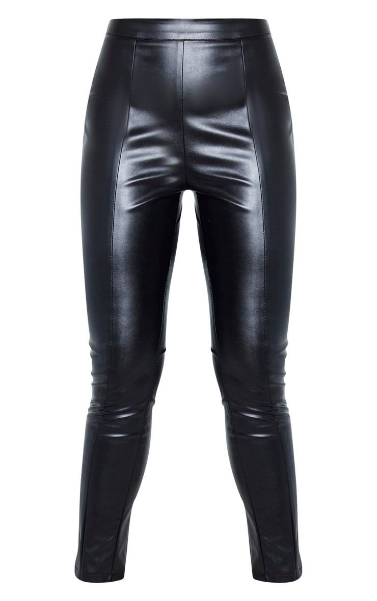 Tall Black Cropped Faux Leather Pants 3