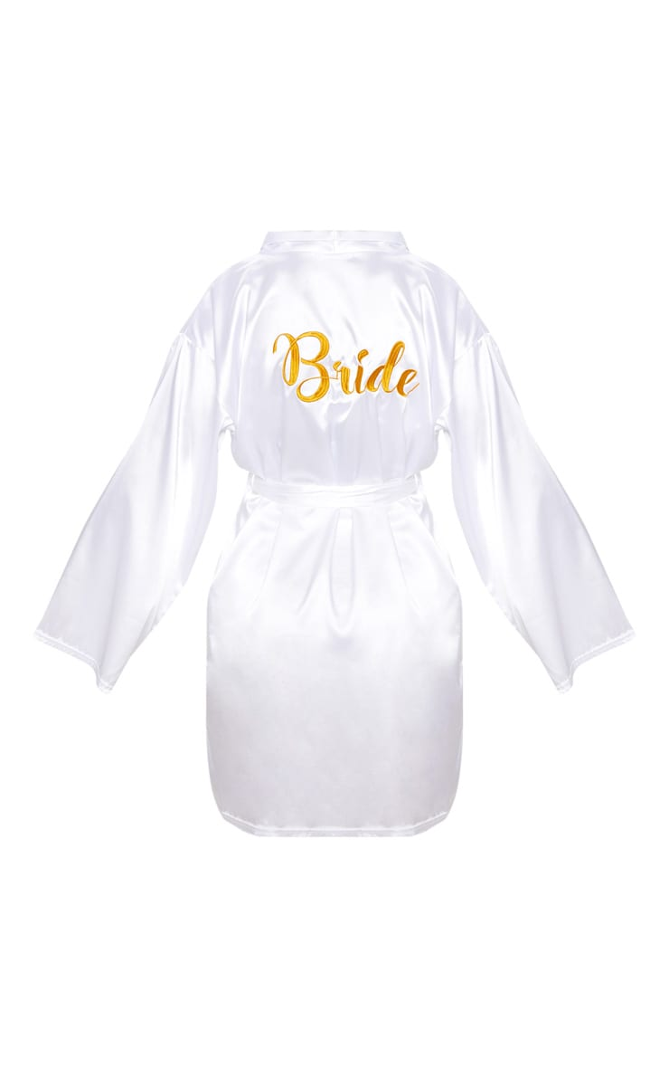 White Bride Embroidered Back Satin Robe 3