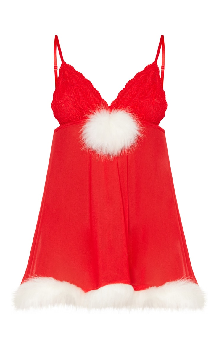 Red Faux Fur Trim Babydoll 3