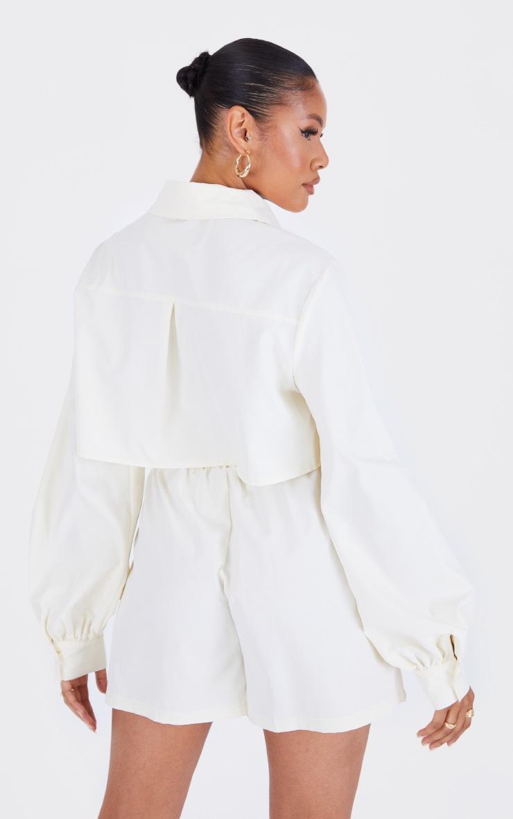 Cream Woven Oversized Cropped Shirt 2