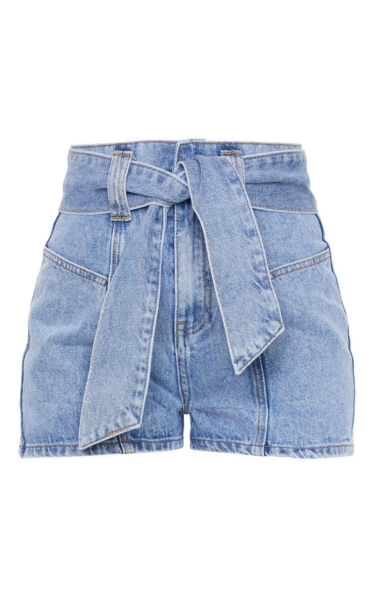 Mid Blue Wash Tie Waist Belted Mom Denim Shorts 6