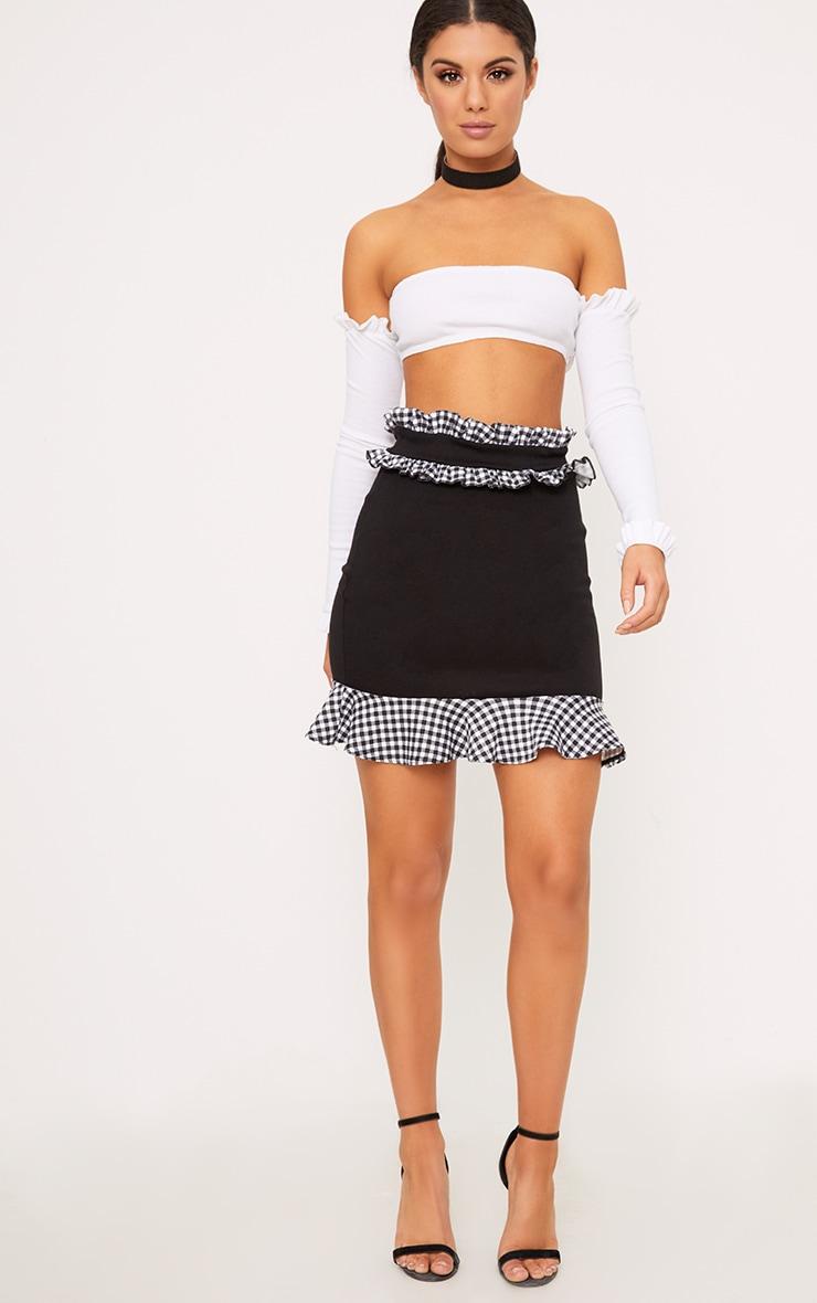 Black Contrast Gingham Frill Trim Mini Skirt 5