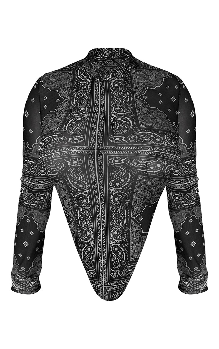 Plus Black Paisley Printed Mesh Bodysuit 6