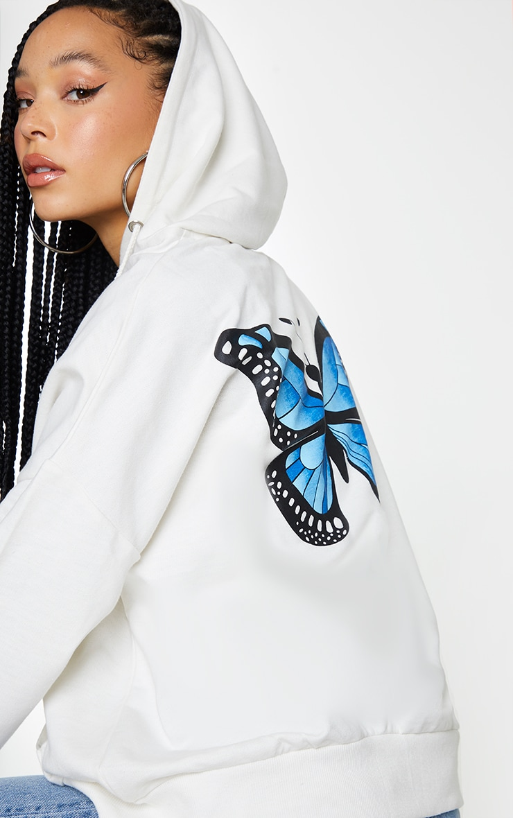 White Butterfly Oversized Hooded Jacket 1