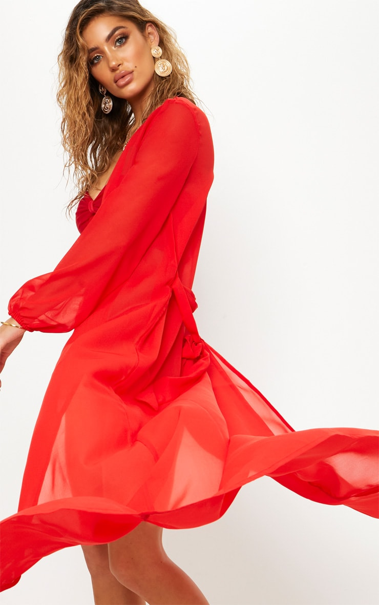 Red Maxi Belted Beach Kimono 4