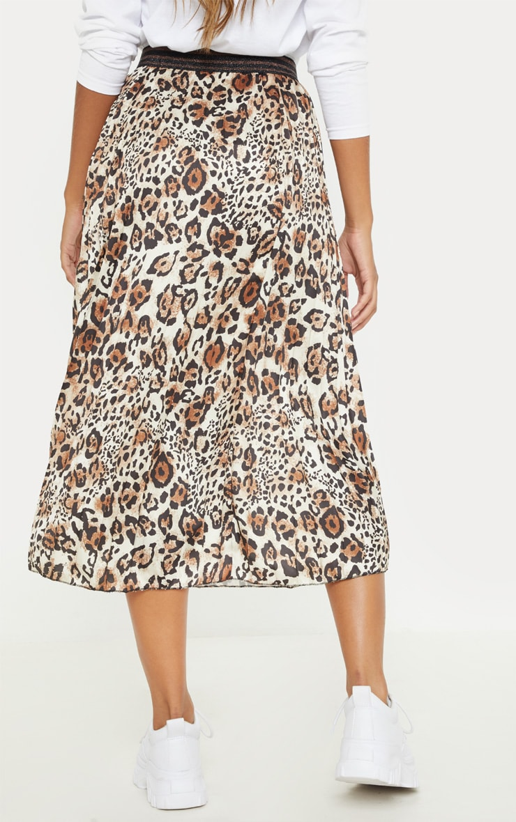 Brown Pleated Leopard Skirt  4