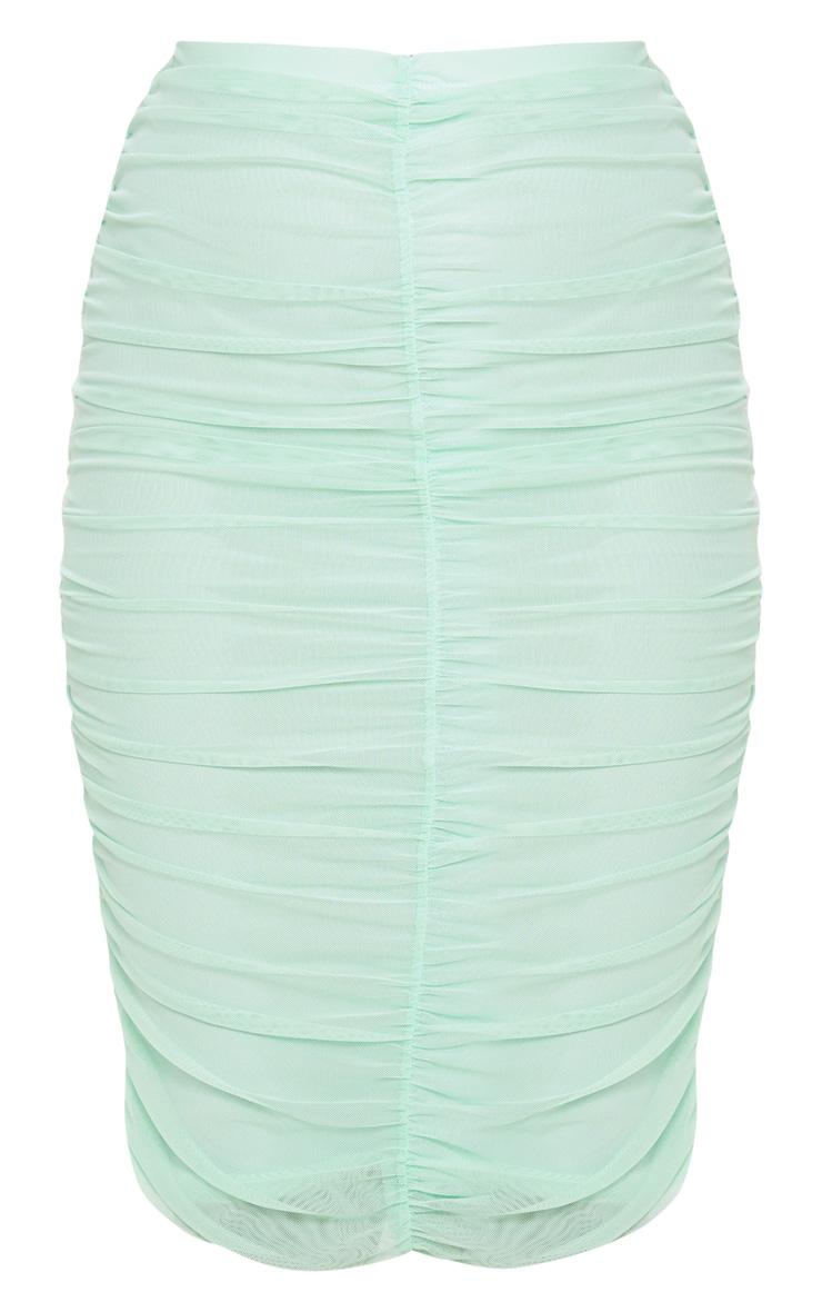 Mint Mesh Ruched Midi Skirt 3