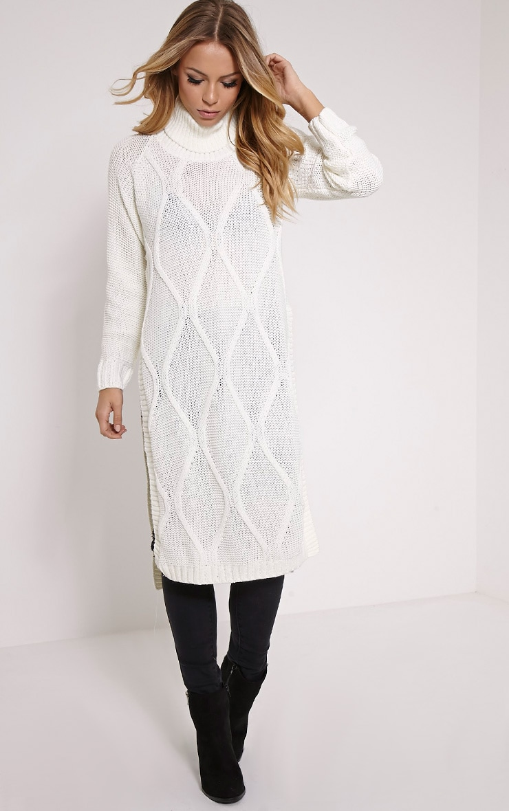 Lark Cream Cable Knit Side Split Jumper 1