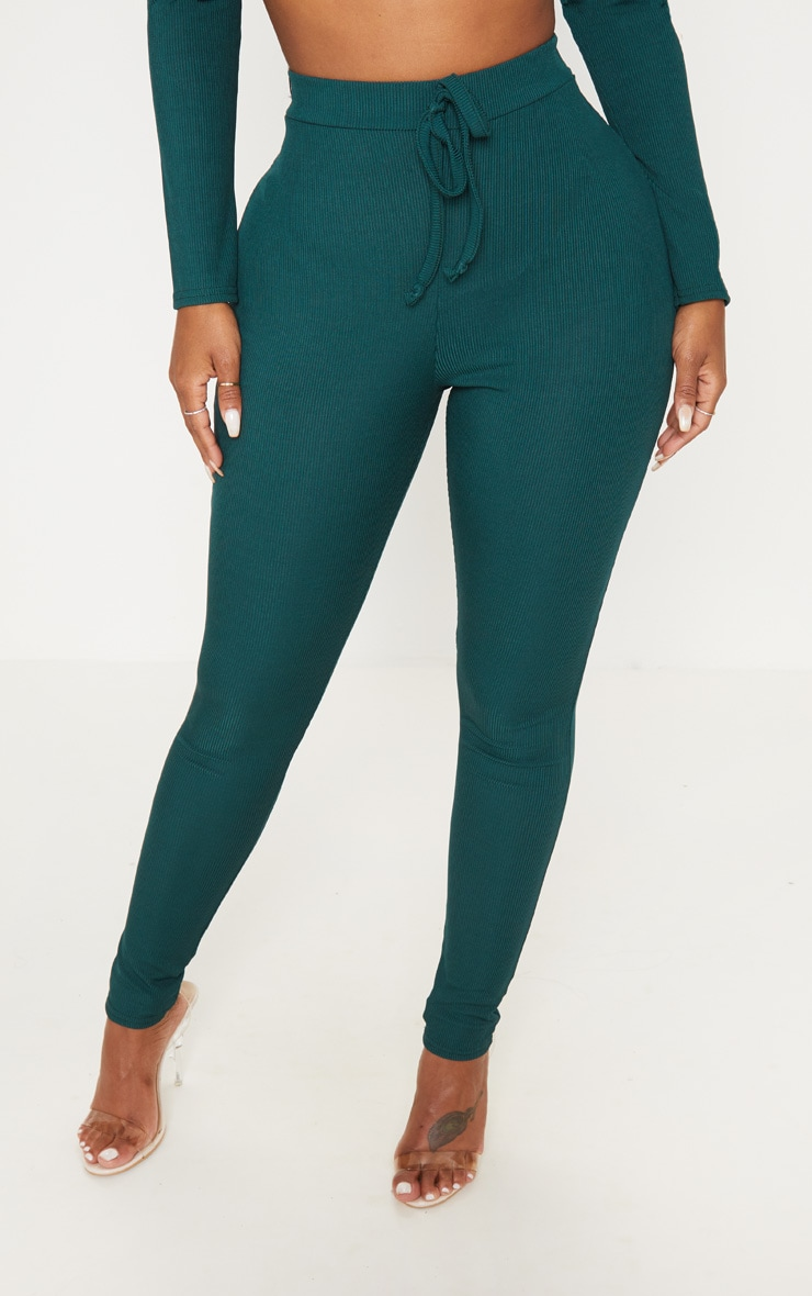 Shape Emerald Green Ribbed High Waist Leggings 2
