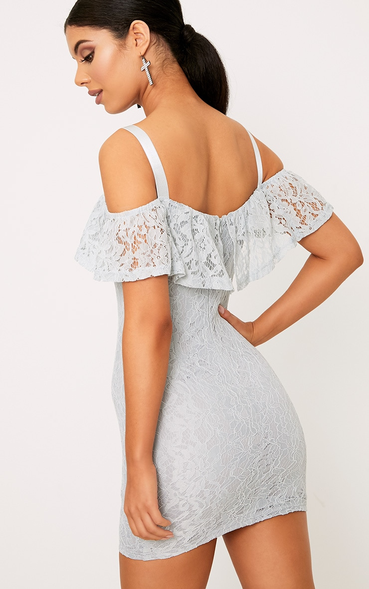 Tiyrah Dusty Blue Lace Ruffle Cold Shoulder Bodycon Dress 2
