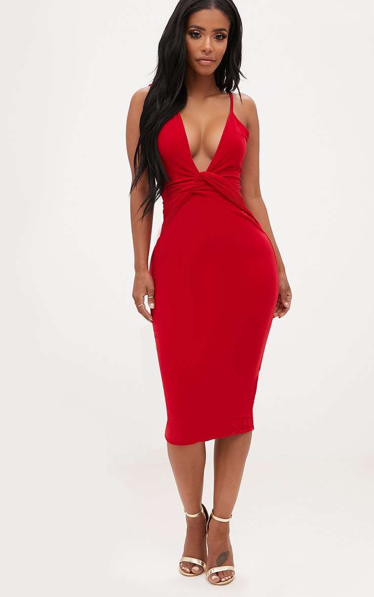 Shape Red Knot Front Plunge Midi Dress 4
