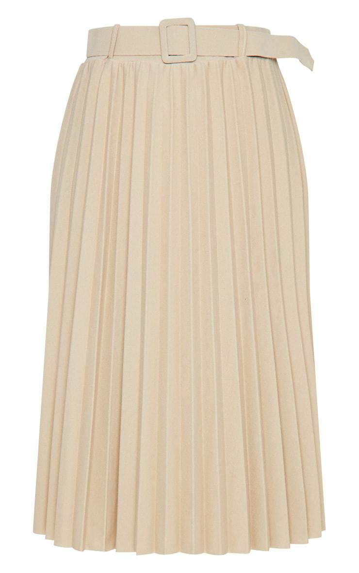 Stone Pleated Belted Midi Skirt 5