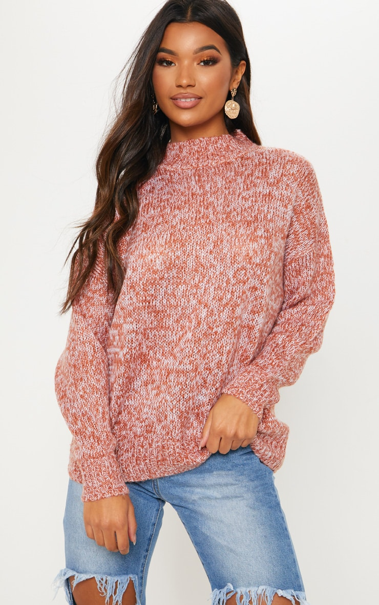 Pink Marl Knitted Jumper with Roll Neck