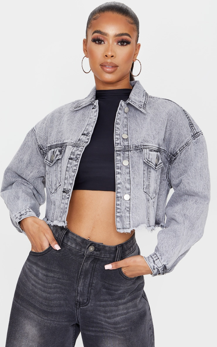 Washed Grey Raw Hem Cropped Denim Jacket 1