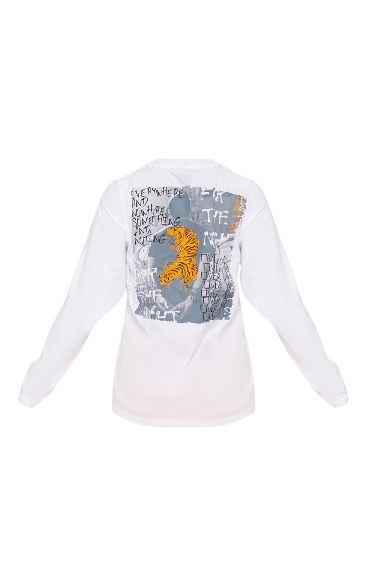 White Tiger Print Long Sleeve T shirt 4