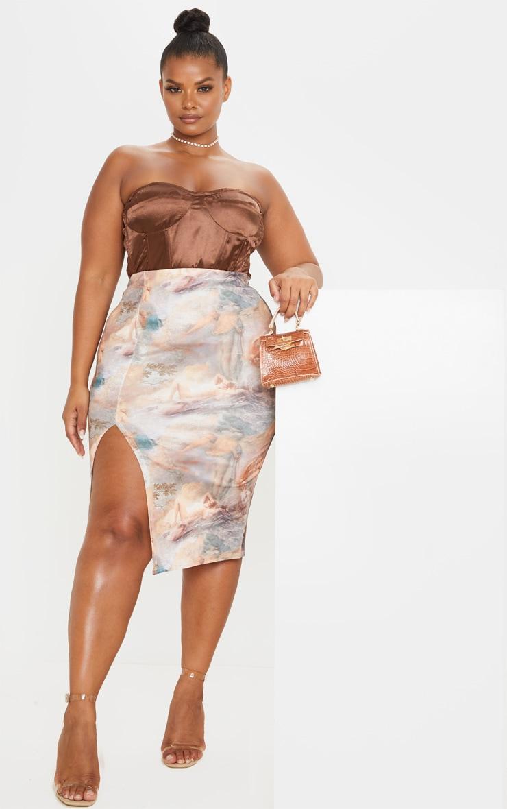 Plus Nude Renaissance Print Split Front Midi Skirt 1