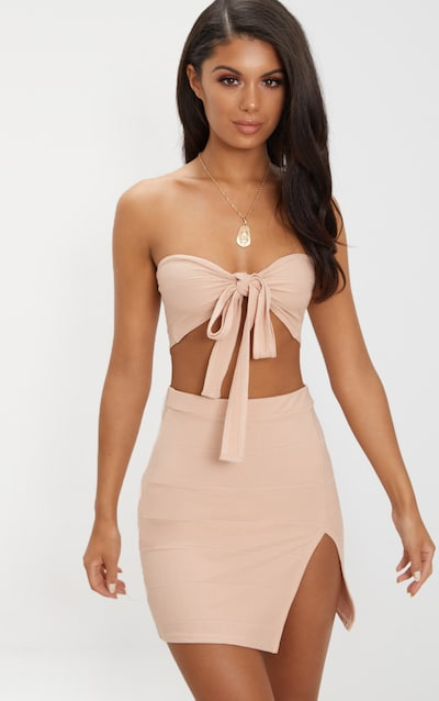 38bb60892797a Nude Bandage Tie Front Bandeau Bralet