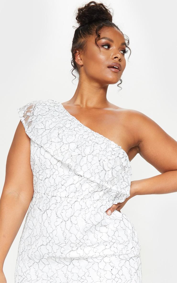 Plus White One Shoulder Lace Midaxi Dress 4