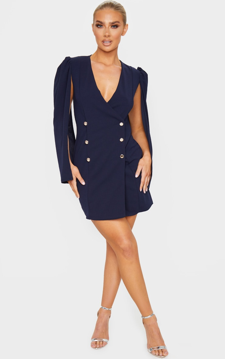 Navy Cape Button Detail Blazer Dress 3