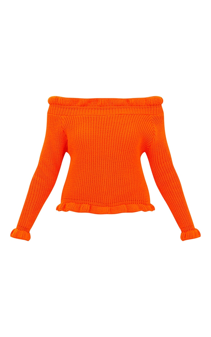 Orange Frill Bardot Jumper 3