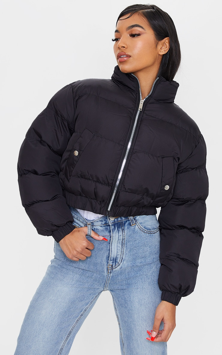 Black Cropped Elastic Hem Bubble Puffer Jacket 1