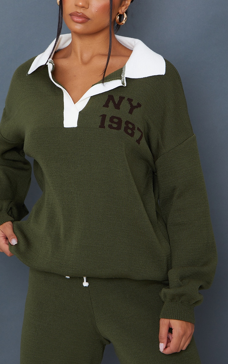 Khaki Oversized Collared Knitted Ny Jacquard Sweater 4