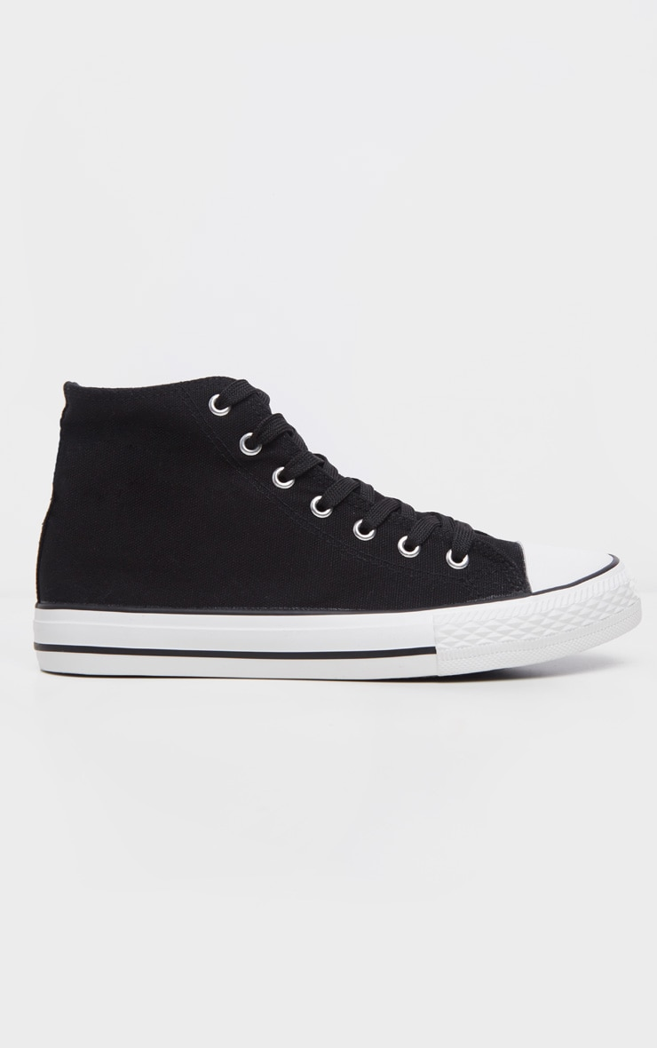 Black High Top Canvas Sneakers  3