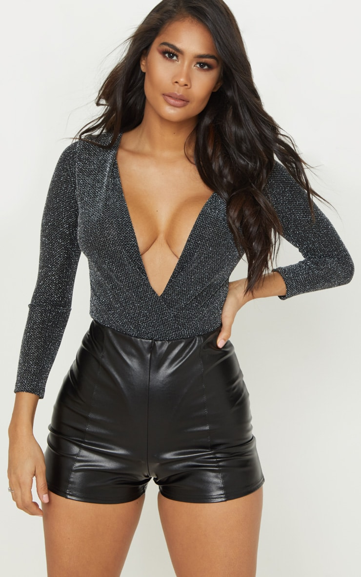 Black Extreme Plunge Long Sleeve Glitter Bodysuit 2