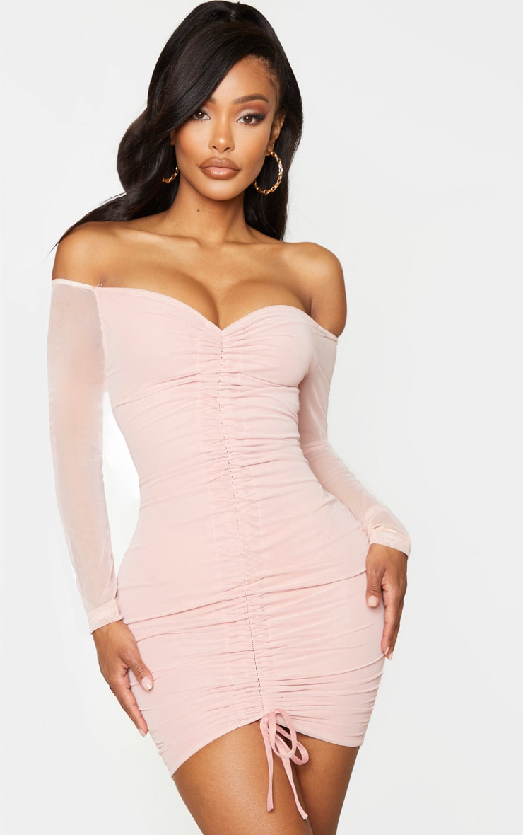 Shape Dusty Rose Mesh Ruched Bardot Bodycon Dress 1