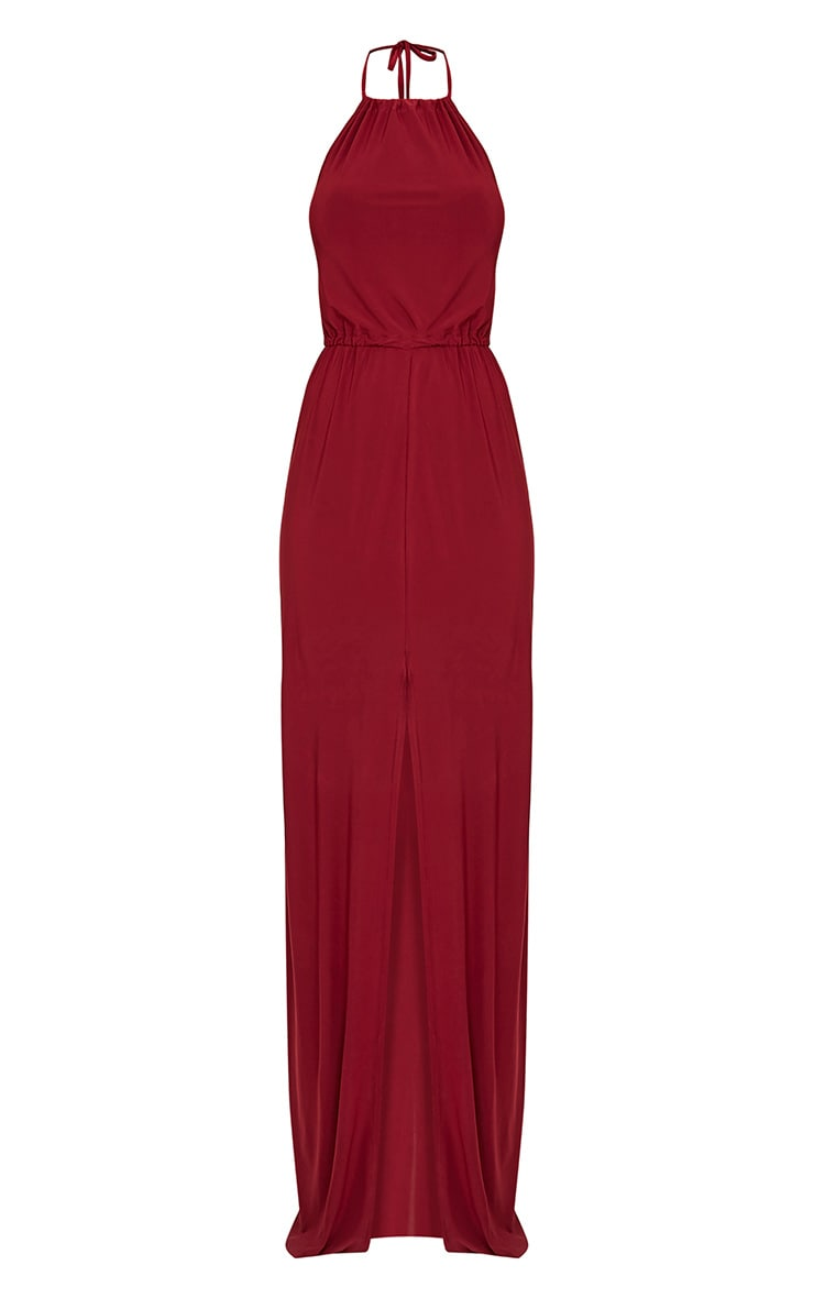 Charlee Burgundy Slinky Front Split Maxi Dress 3