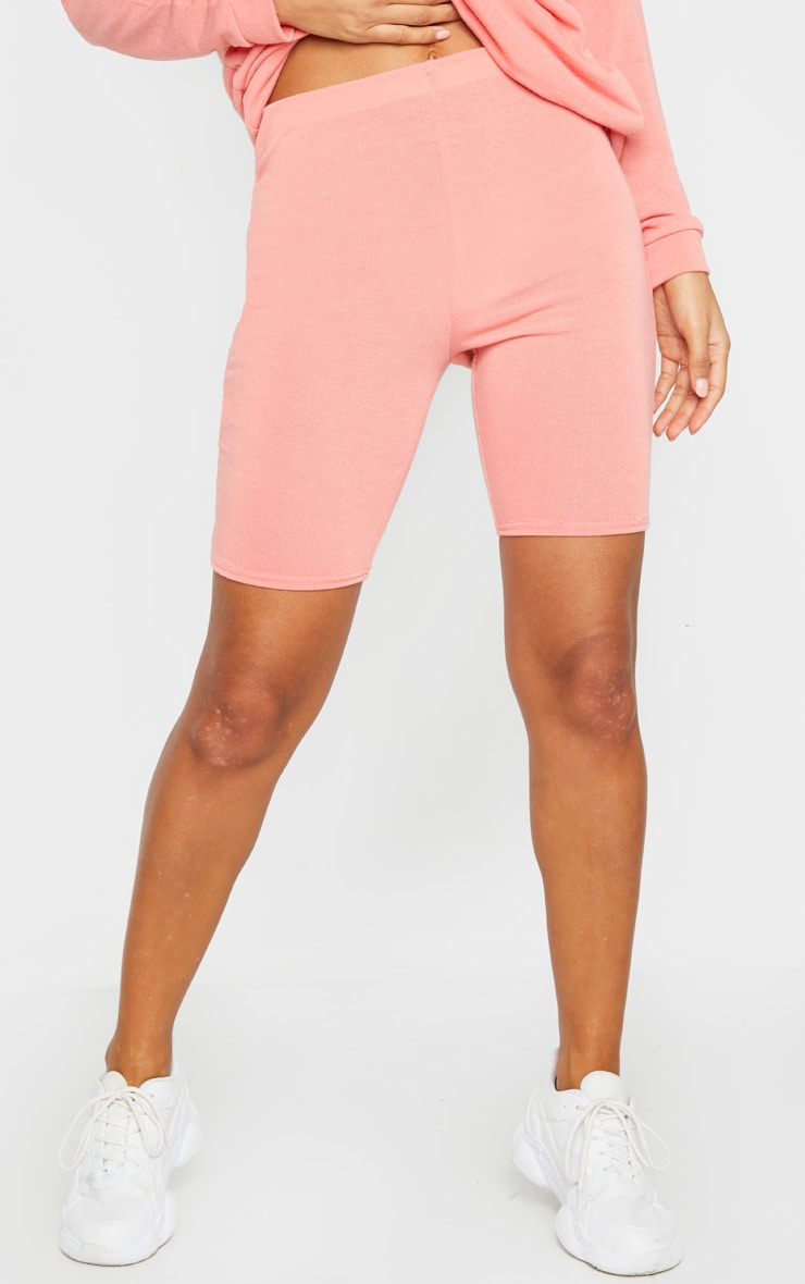 Coral Soft Cotton High Waist Bike Short 2