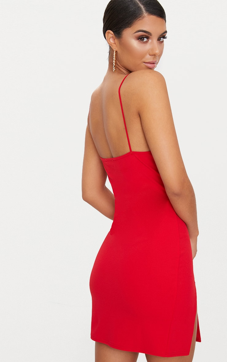 Red Strappy Plunge Metal Bar Detail Extreme Split Bodycon Dress 2