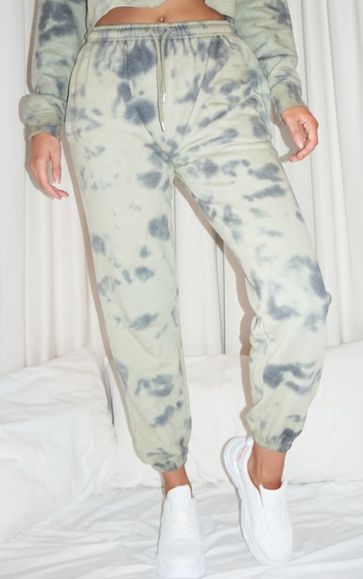 Tall Sage Green Acid Wash Oversized Joggers 2