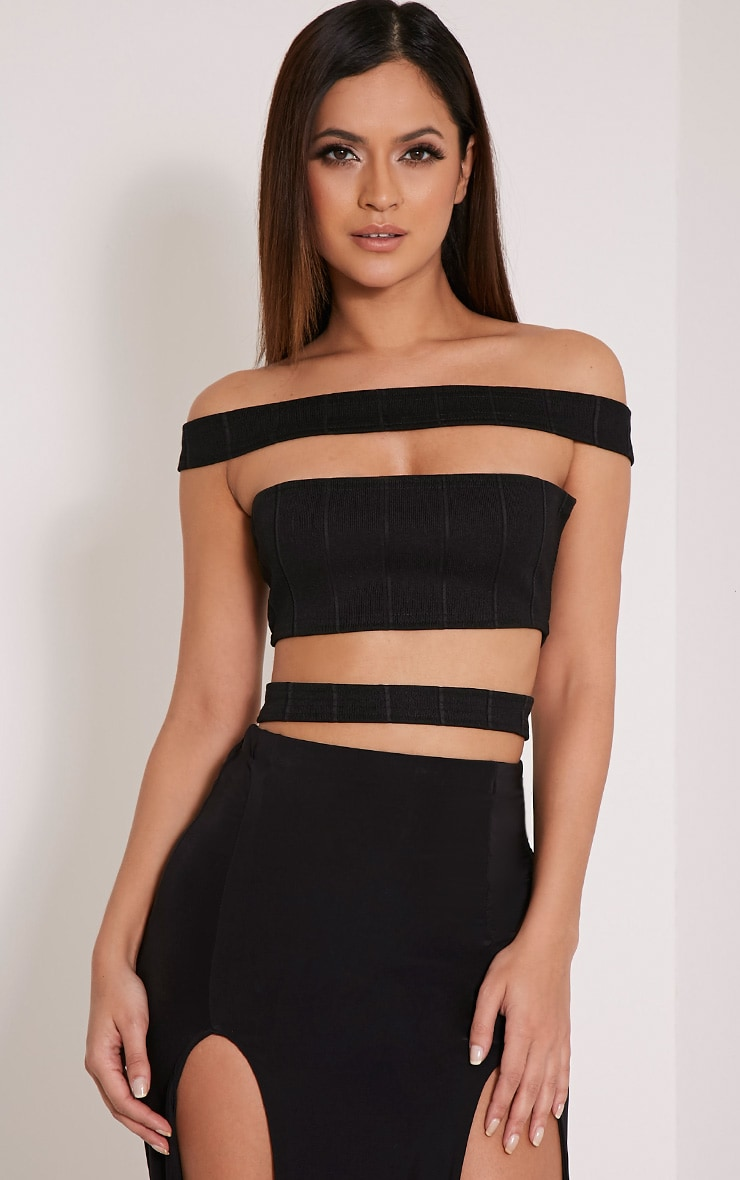 Patrisha Black Bandage Strap Crop Top 1